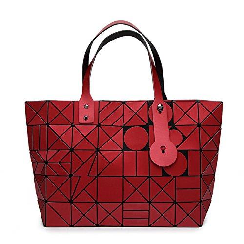 Donne Opaco Triangolare Lingge 7 * 8 Cucitura Diagonale Borsa Sacchetto Di Spalla Modo Personalità Tendenza Semplice Piegatura Sacchetto Red