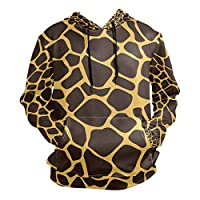 FCZ Men Pullover Hoodie Giraffe Pattern Black Yellow Sweatshirt