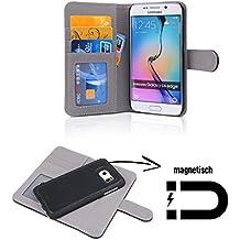 FINOO Cuero Natural Funda Con Tapa Funda para móvil - Samsung S6 Edge
