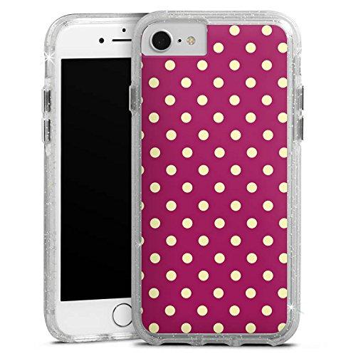 Apple iPhone 7 Bumper Hülle Bumper Case Glitzer Hülle Punkte Pattern Muster Bumper Case Glitzer silber