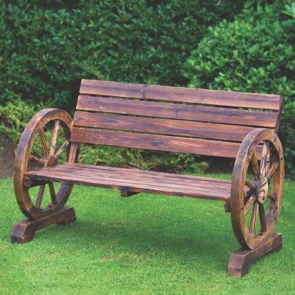 en bois Traditionnellement Construit Waggon Roue W114X D58X H76cm (environ) Banc 2places