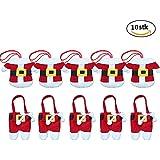 CSDSTORE 10 Pièces (5 manteaux + 5 pantalons) Décorations de table de Noël Porte-argenterie de Noël Costume de Père Noël Dîner Couverts de couverts