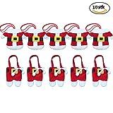 Besteckhalter Weihnachten CSDSOTRE Taschen 10pcs Sankt-Klage Weihnachten Dekoration Besteck Kostüm kleine Hosen und Kleidung Besteck-Sets(10Stücke)