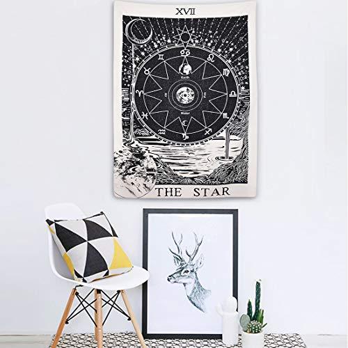 YAYALE Tapisserie Wandbehang Wandteppiche Geheimnisvolle Mauer Tapisserie The Moon der Star der Sonne Tarot mittelalterlichen Europa Wahrsagung für Home Decor 51