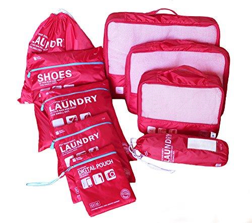 Eazeehome 9 Sets Reiseveranstalter Verpackungswürfel Gepäck Organizer in Koffer Koffertaschen Reisegepäck Wasserdichte Robuste (9Sets Rote) (Koffer Gepäck Reise)