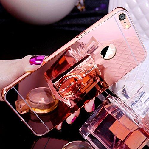 Custodia per iPhone 7/8 plus,Custodia in Diamante,Copertura Completa per bordo con anello quadrato,Copertina Posteriore dello Specchio, [specchio alla moda][funzionalità dello stand] Custodia Protetti ORO ROSE/