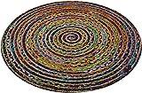 The Indian Arts Fair Trade rund Multi Farbe Baumwolle/Jute geflochten Teppich recycelten Materialien, Textil, Mehrfarbig, 90cm Diameter
