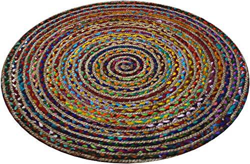 Alfombra redonda multicolor, algodón y yute cosido, con materiales reciclados, Varios Colores, 90cm Diameter