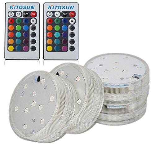 Unterwasser LED licht, 6.8cm runde rgb multi colors wasserdicht led kerze 3aaa batterien betrieben mit infrarot fernsteuerung für hochzeit alte vase, teich, tank,aquarium, shisha, halloween, l