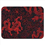 Red Chinese Dragons Premium Quality Thick Rubber Mouse Mat Pad Soft Comfort Feel Finish