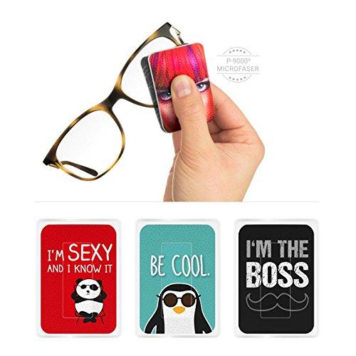 POLYCLEAN 3X PocketCleaner® - geniales Brillen-Putztuch und Displaytuch mit Antirutsch-Beschichtung für Brillen und Smartphone Displays - Made in Germany (12 x 4 cm, Motiv Sprüche, 3 Stück)