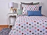 Tiendas Mi Casa - Colcha bouti ESTRELLAS reversible, incluye 1 ud funda cojín 50x70 cm. (cama 90 cm (180x270 cm))