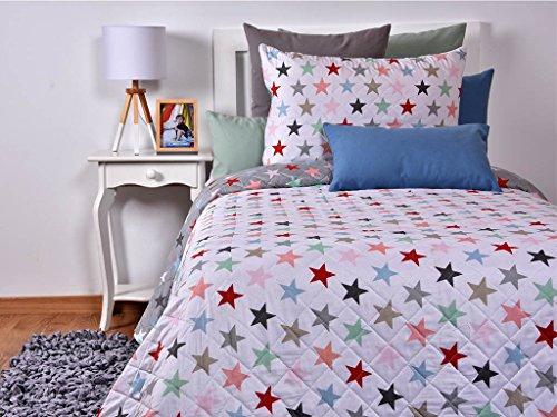 Tiendas Mi Casa - Colcha bouti ESTRELLAS, incluye 1 ud funda cojín 50x70 cm. (cama 90 cm (180x270 cm))