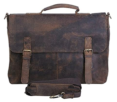 Leder Büffel Echtes Satchel Messenger Schulter Vintage Business College 15 Laptop Cross Body Bag Unisex Natürlich (Brown Leather Messenger Bag)