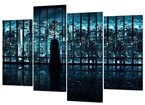 (Leinwand Kunstdruck Batman The Dark Night, Gotham City, 4er-Set)
