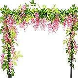 Vidillo Fiori Pianta Artificiali glicine 3Pezzi 2m Ghirlanda pensile bouquet fiori di seta per Esterno party Decorazione Domestica, Fiore Appeso Wedding Décor (rosa)
