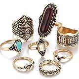 LIXIAQ1 6 Stücke Böhmischen Knuckle Ring Set Türkis Opal Vintage Kristall Joint Knuckle Ring Set für Frauen, Ancient Gold braun