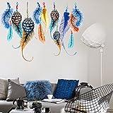 Zooarts Creative Colorful pluma de la suerte pegatinas de pared extraíble vinilo adhesivos decor Home habitación mural DIY