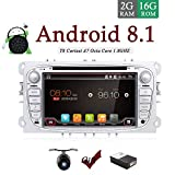 Android 7.1 17,8CM Quad Core Doppia Din Car Stereo Radio Navigation adatto Per Ford Focus Mondeo S-Max Focus Galaxy C-MAX Support Mirror Link 4G WiFi OBD2 DAB DVR USB colore argento Gratuita Camera