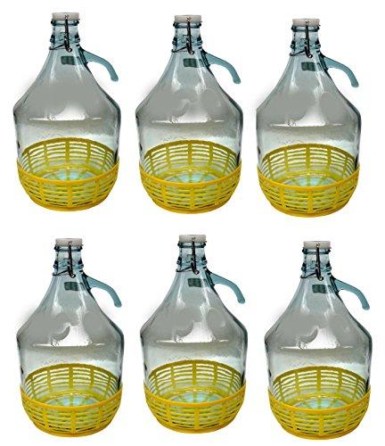 6 STÜCK 5L Gärballon mit BÜGELVERSCHLUSS und Kunststoffkorb Flasche Glasballon Weinballon Bügelflasche kostenlose Lieferung