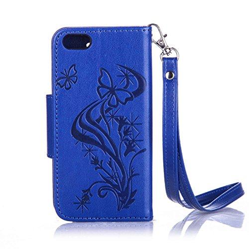 iPhone SE Hülle,iPhone 5S Ledertasche,iPhone 5 Case - Felfy Wallet Hülle Ledertasche Luxe Premium Dünne handgemachte PU-Leder-Mappen-Schlag-Folio Kreditkartensteckplätze Tasche Spleißelement Farbe Des Diamant Marineblau