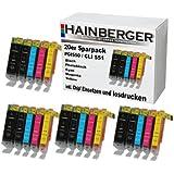 Hainberger 85055020 - Paquete de 20 cartuchos de tinta para Canon Pixma, multicolor [Importado]
