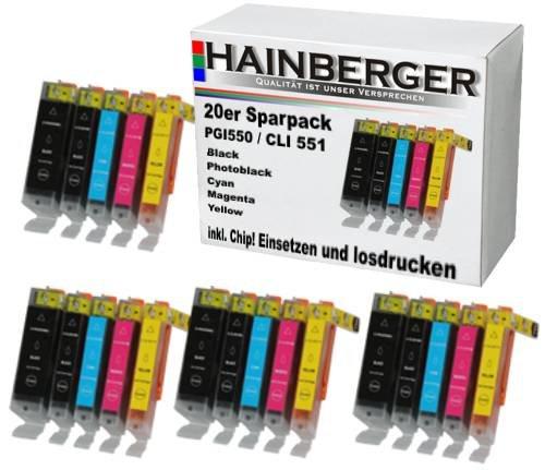 20x Hainberger XXL Patronen für Canon Pixma IP7250 MG5450 MG6350 MX725 MX925 PGI-550 CLI-551