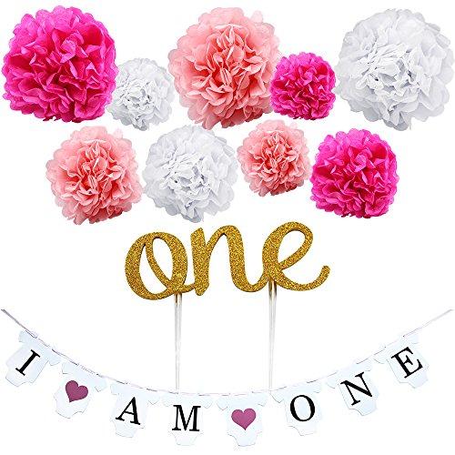 KUNGYO Erstes Geburtstags-Party-Dekoration-Kit des Mädchens-Rosa süßes Herz I am One Flaggen-Banner+9 Stück Seidenpapier Blume Pom Poms Girlande+One Cake Topper-Perfekte 1 Jahr alte Party liefert