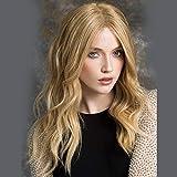 GGVK&W Frauen Blonde Echthaar Menschen Lange Lockige Perücke 20 Zoll Glueless Brasilianische Vordere Spitzeperücken Vor Gezupft Natürliche Haaransatz Mit Babyhaar