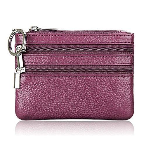 Lamdoo Frauen Männer Leder Geldbörse Karte Brieftasche Kupplung Doppel-reißverschluss Kleine Tasche Ändern (Lila) (Herren-doppel-reißverschluss-geldbörse)