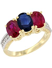 14 ct Gelb Gold Natur Blau Saphir & Enhanced Ruby Seiten Ring Ehering Oval 7 x 5 mm Diamant Accent, Größe Q