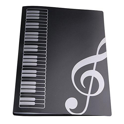 BQLZR, Hefter aus Kunststoff, Design: Musik/Notenschlüssel, mit 40 Sichthüllen - schwarz, Größe A4