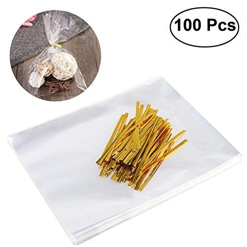 OUNONA 100 Stücke Klar Cellophanbeutel Tasche mit Twist Krawatten für Hochzeit Geschenk Süßigkeiten Buffet Party Supply