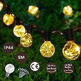 Lichterkette Große Birnen Aussen LED Lichterketten Warmweiß 5M G40 String Glühbirnen Kugel Wasserdicht Birnen Innen Außen für Deko Weihnachten,Garten, Party(12 Birnen mit 1 Ersatzbirnen 6Stk Haken)