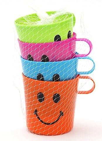 4X Smiley Face Tasses pour enfant enfants Plastique fête Vacances Jardin Plage Tasses