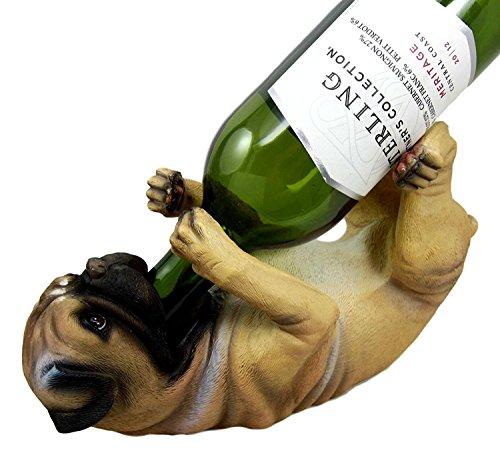 Atlantic Sammlerstücke Liebenswürdig, Hunde Mops 27,3cm hoch Weinflaschenhalter Caddy Figur -
