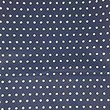 Sugarapple Stoff Meterware Baumwolle beschichtet   wasserdicht  wasserabweisend   weich  matt  Wachstuch  Qualität zum Nähen Punkte dunkelblau weiß