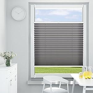 OUBO Plissee Klemmfix Faltrollo ohne Bohren 50 x 120 cm (BxH) Anthrazit, Sichtschutz Uns Sonnenschutz Jalousien 50 cm Breit