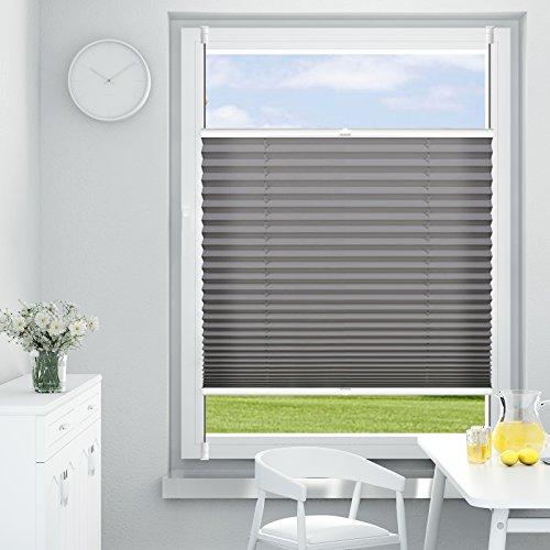 OUBO Plissee Klemmfix Faltrollo ohne Bohren 80 x 120 cm (BxH) Anthrazit, Sichtschutz Uns Sonnenschutz Jalousien 80 cm Breit