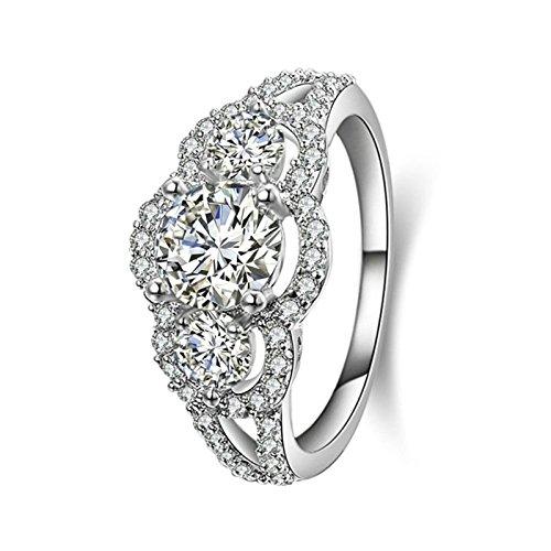 SonMo 925 Silber Ring Solitär Weiß Diamant Ringe für Damen Rund Zirkonia Trauringe Hochzeit Ring Eheringe Ringe Frauen Größe 57 (18.1) (Hochzeit Platinum Band Mens)