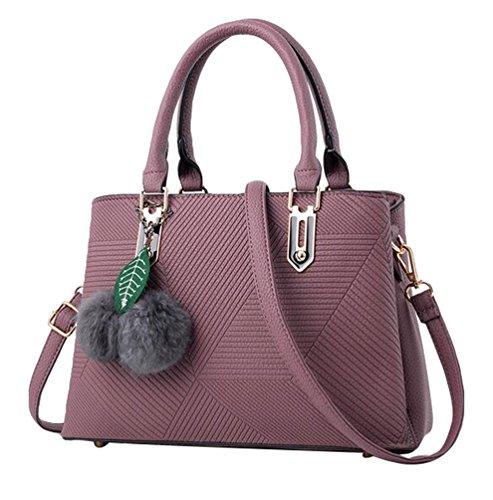 Baymate Damen Casual Handtaschen PU Leder Tote Schultertaschen Dunkel Violett