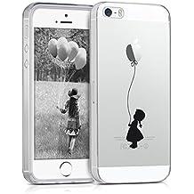 kwmobile Funda para Apple iPhone SE / 5 / 5S - forro de TPU silicona cover protector para móvil - Case Diseño globo niña negro transparente