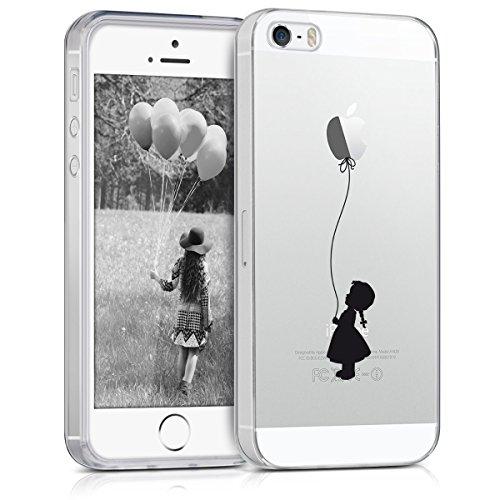 kwmobile Funda para Apple iPhone SE / 5 / 5S - forro de TPU silicona cover protector para móvil - Case Diseño Niña con globo negro transparente