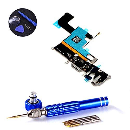 PPdigi Dock Connector para iPhone 6 Conector de carga USB Audio Jack Micrófono con Tool Set (Fit iPhone 6, Space Grey)