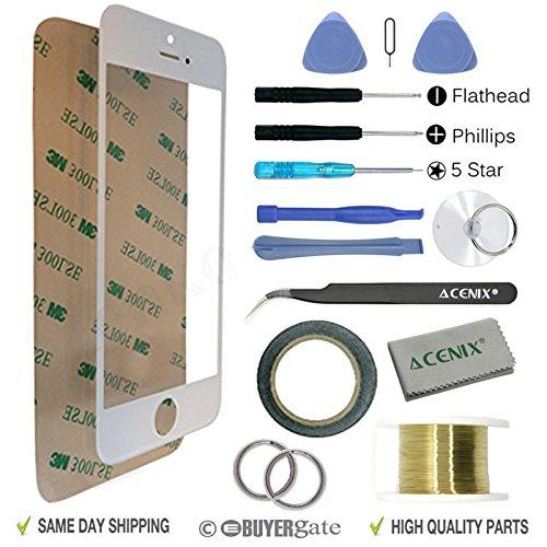 ACENIX 17-teiliges Ersatz-Set Apple iPhone Touchscreen, weiß, mit vorderem Glas-Objektiv, Ersatz für Apple iPhone 55S 5C, 1x Rolle 2mm dickes doppelseitiges Klebeband, 1x Rolle goldener Molybdän-Draht, 1x Super Twezzer, 1x hochwertiges Reinigungstuch, 1x Saugnapf mit benötigem Schraubenzieher & Kunststoff Stanzwerkzeug -