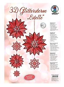 Ursus 33750000Glitter Estrella 3D Estelle, Material para 3Estrellas, Color Rojo