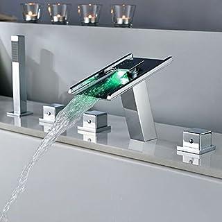 Eeayyygch Armaturen Küchenarmaturen Waschtischarmaturen Kalt- und Warmwassermischer Badmischer Waschtischarmatur Rotierende LED Licht Wasserfall für Küchen- oder Badarmaturen