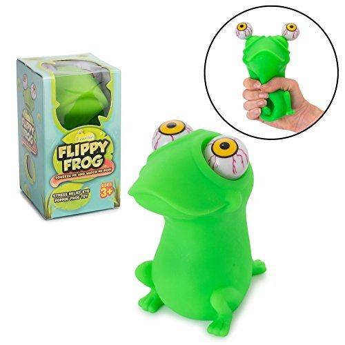 shy mit rießen Augen zum Rausdrücken - Flippy Frog - Angesagtes Spielzeug & Anti-Stress Squishie - Antistress-Spielzeug für Kinder und Erwachsene - Mesh Ball Toy für Konzentration ()