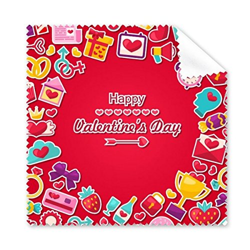 Rot Happy Valentine 's Day mit Geschenk Herz Schleife Ringe Strawberry Love Buchstabe Cupcake Donuts Illustration Muster Brille Reinigungstuch Reinigungstuch Handy-Display von 5 x