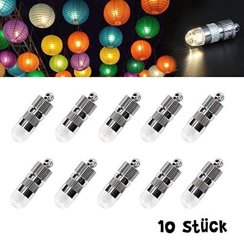 Dazone 10 weiß Mini LED-Ballons Lichter Beleuchtung für Papierlaterne Lampions Weihnacht Party Feier Hochzeit,Nicht-blinkend